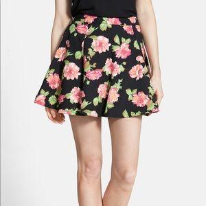 Lush Print Skater Skirt in Floral Deep Purple